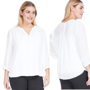 New NYDJ Optic White Pintuck Blouse Size Large